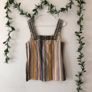 NWT Lucky Brand 🍀 Yellow & Gray Striped Top